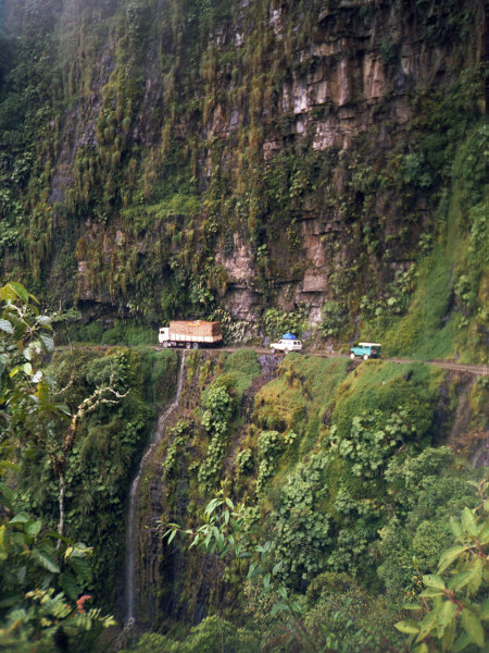 Driving on Yungas Road in Bolivia