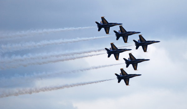 Blue Angels aircraft flying in formation