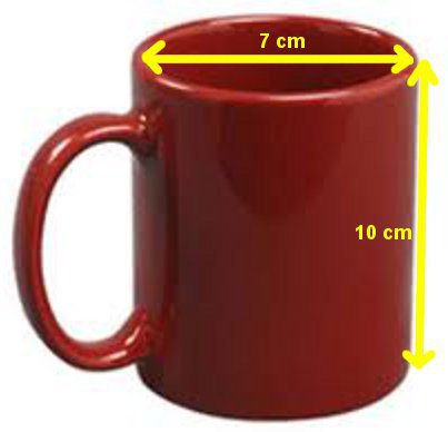 Diagram of coffee mug dimensions