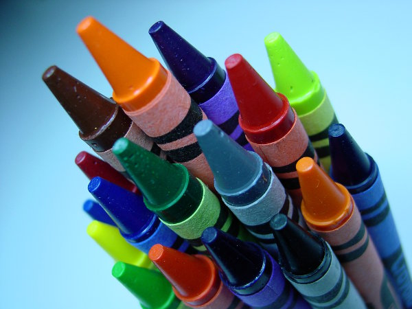 Many colours of crayons