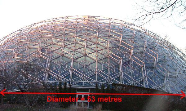 Diagram of geodesic dome diameter