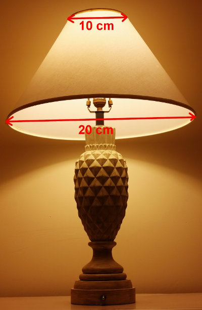 Diagram of diameter of top and bottom lampshade