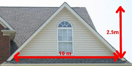 Diagram of triangle of roof gable