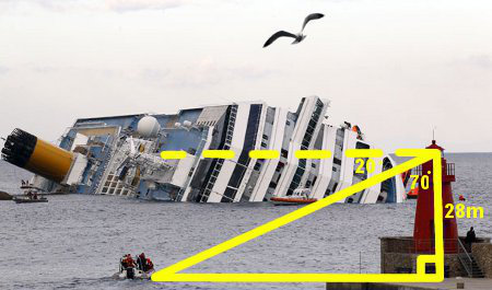 Costa Concordia ship tipped at angle
