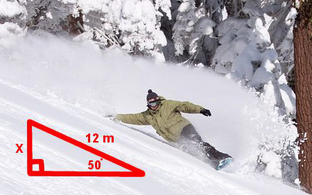 Diagram of snowboarder leaning at angle
