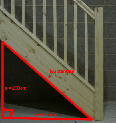 Diagram of triangle shape under stairs