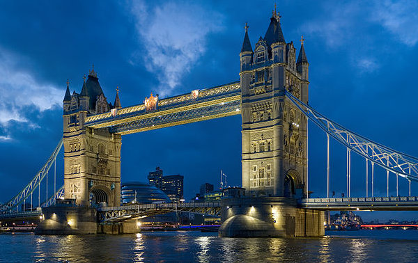 London Tower bridge in the evening