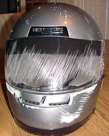 Motorbike helmet after a crash